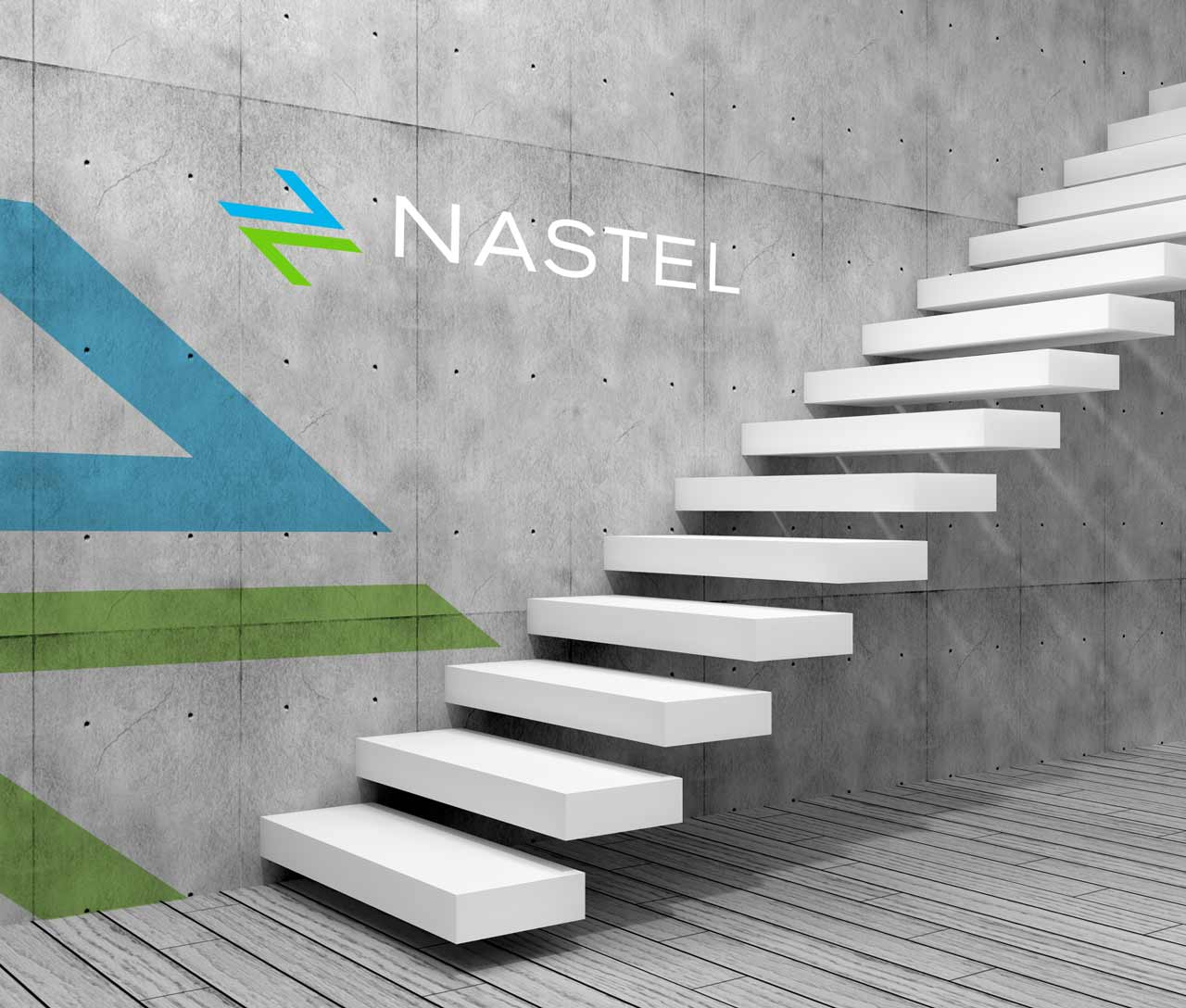 futuristic office interior with nastel logo on wall and super graphic next to floating stairs