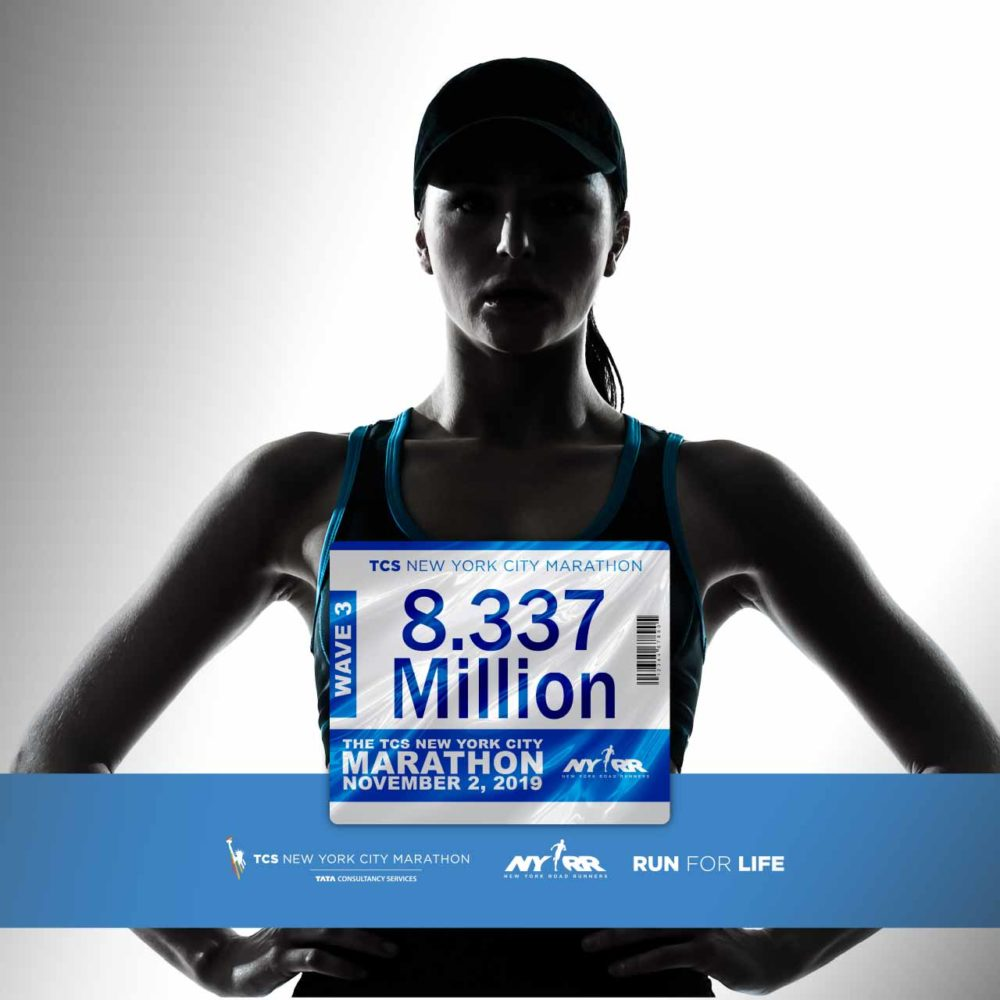 a female marathon runner representing new york city marathon runners