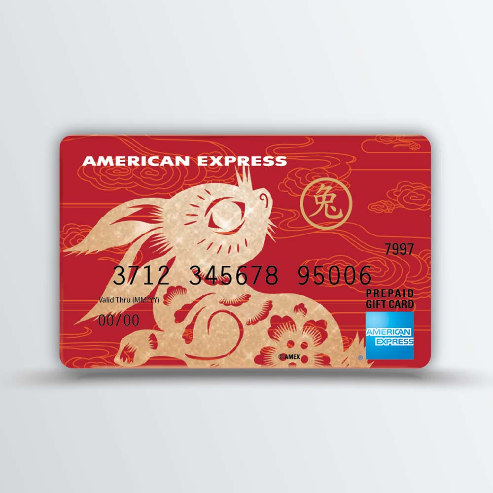 chinese folk art papercut style rabbit design on prepaid gift card and gift card packaging