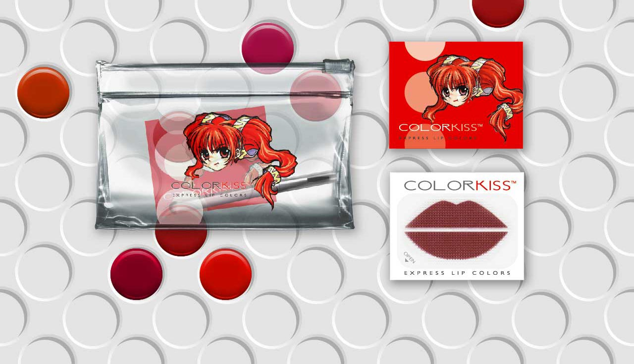 candy-looking lip color palette for colorkiss with japanese anime character on packaging