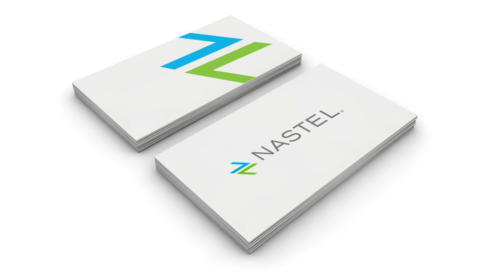 green and blue arrows moving towards each other logo nastel