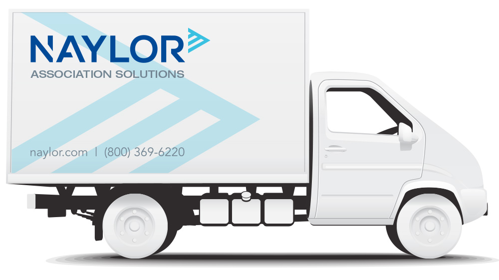 white truck with brand logo and branded super graphic