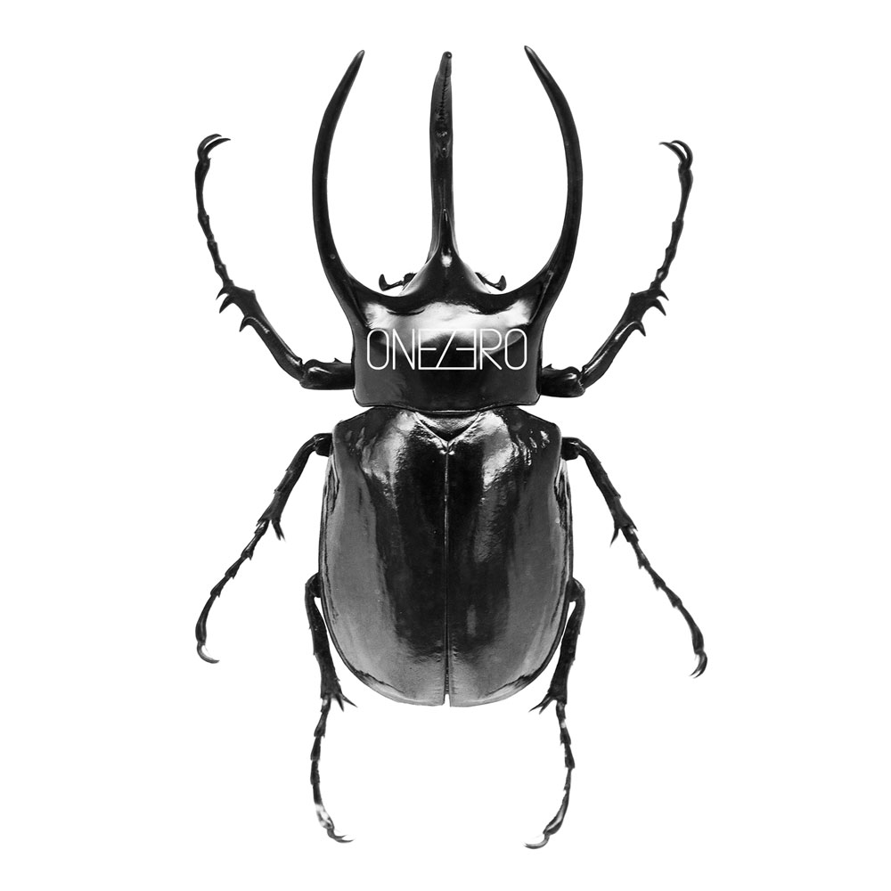 futuristic icon design with large black beetle for onezero