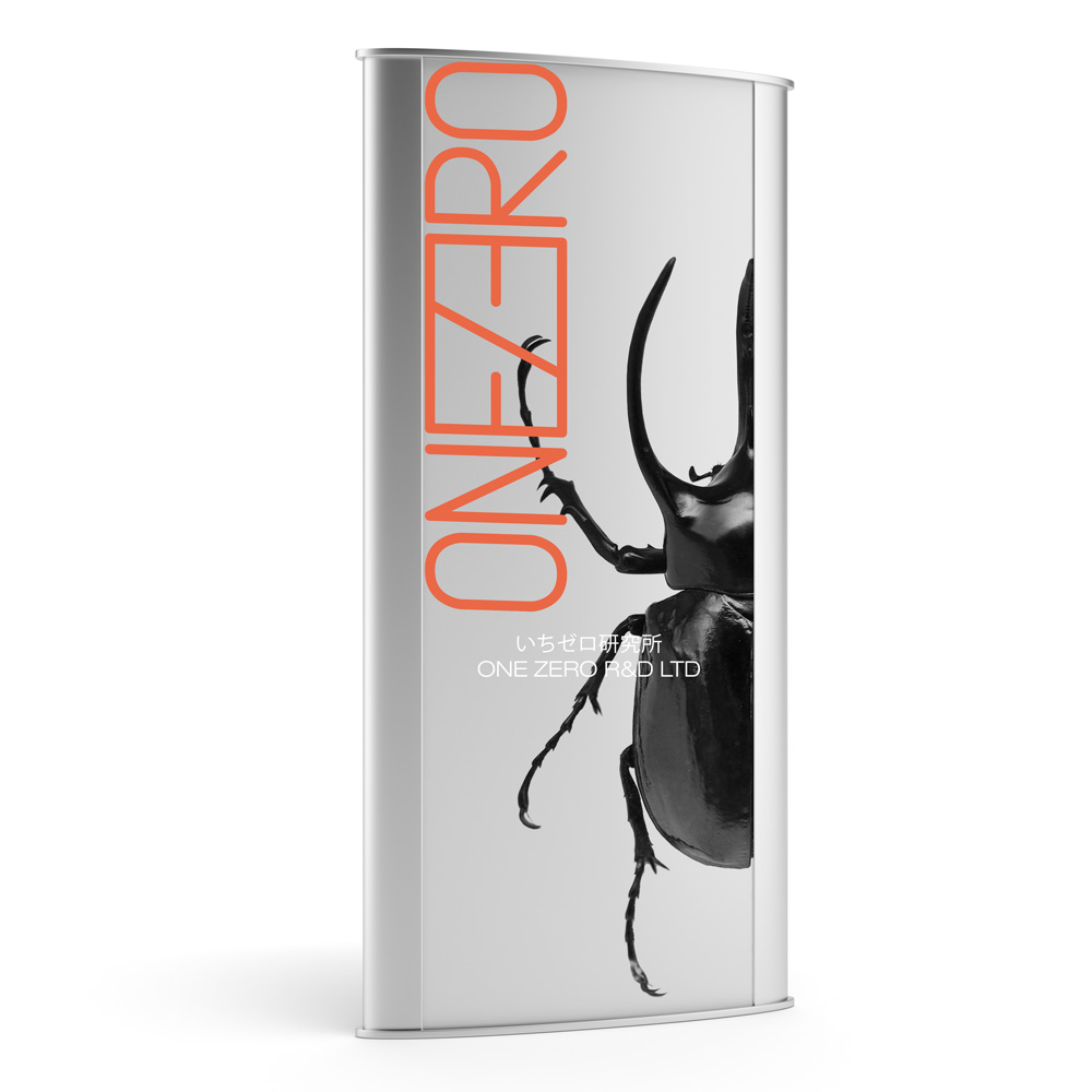 futuristic trade show booth design with large black beetle for onezero