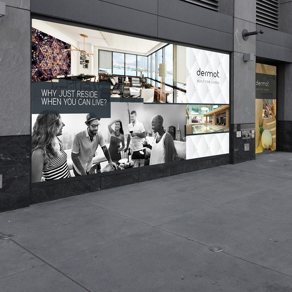 contemporary new york city real estate store front billboard projecting brooklyn funky lifestyle