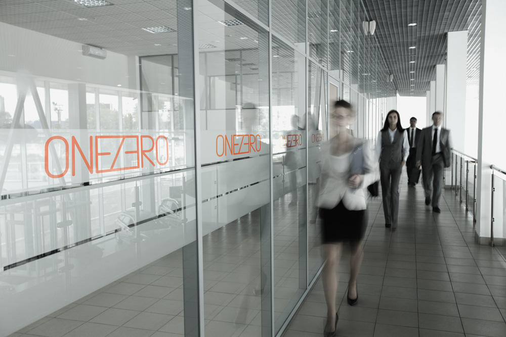 contemporary office glass exterior panels with smart onezero logo