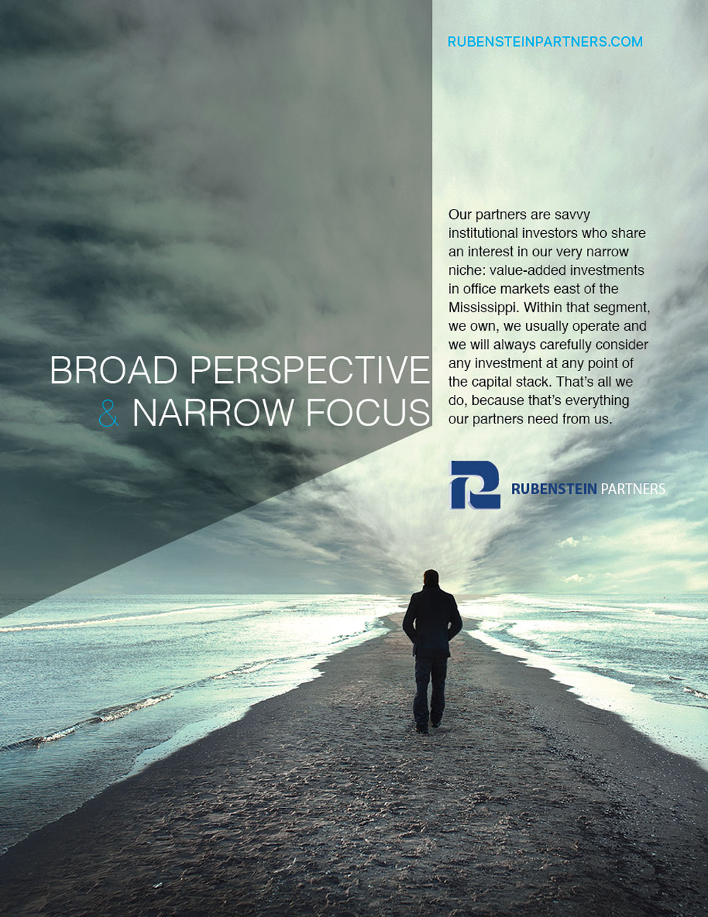 smart advertising graphic treatment with board perspective scenic view for investment firm